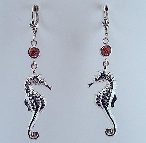 Sterling Silver & Garnet Seahorse Earrings