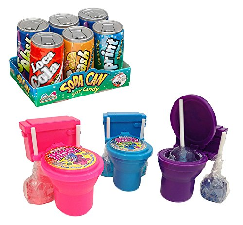 Kids Novelty Candy Set- 1 Kidsmania Soda Can Fizz Playset, 1.48 oz (1-Pack of 6) and Kidsmania Sour Flush Watermelon, Grape and Blue Raspberry Lollipops and Powder 3-Pack