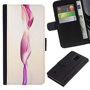 UberTech / Samsung Galaxy Note 4 SM-N910 / Pink Water Vertical Minimalist Shape / Cuero PU Delgado caso Billetera cubierta Shell Armor Funda Case Cover Wallet Credit Card