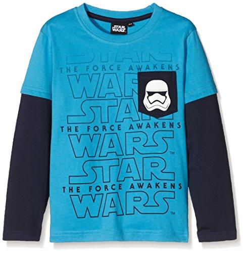 FABTASTICS Jungen Langarm T-shirt Disney STAR WARS Star Trooper, Mehrfarbig (Malibu Blue), 140