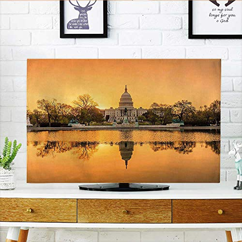 (Cord Cover for Wall Mounted tv Washington DC American Capital City White House Above The Lake Landscape Apricot Ginger Cover Mounted tv W30 x H50 INCH/TV 52