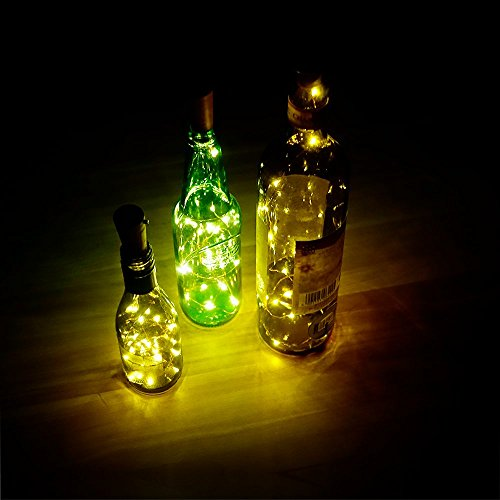 GiBot 6 Pack Wine Bottle Lights - 15 LED 75cm Cork Wire String Light Copper Starry Lights Moon Lights for Bottle DIY Decor, Home, Party, Wedding, Halloween,Xmas, Indoor Outdoor Holiday,Warm White