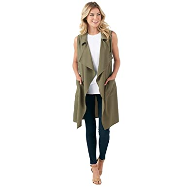 cf30eb12b Coco Collared Draped Vest at Amazon Women's Clothing store:
