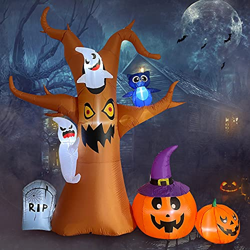 Trystway Halloween Inflatables Decorations, 8FT Inflatable Dead Tree with Ghost, Pumpkin Owl LED Halloween Blow Up Yard Outdoor Holiday Decor, Halloween Inflatables Tree
