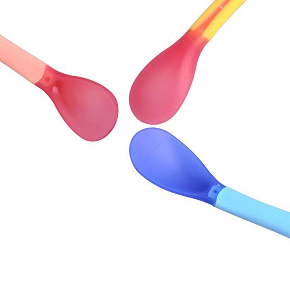 Morza Plastique b/éb/é Sensible /à la Chaleur Cuiller b/éb/é Petits Enfants en Bas /âge Changement de Couleur cuill/ère Alimentation Outil Enfants Art de la Table