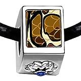 Silver Plated Snake Skin Photo Sapphire Crystal September Birthstone Flower Bead Charm Bracelets