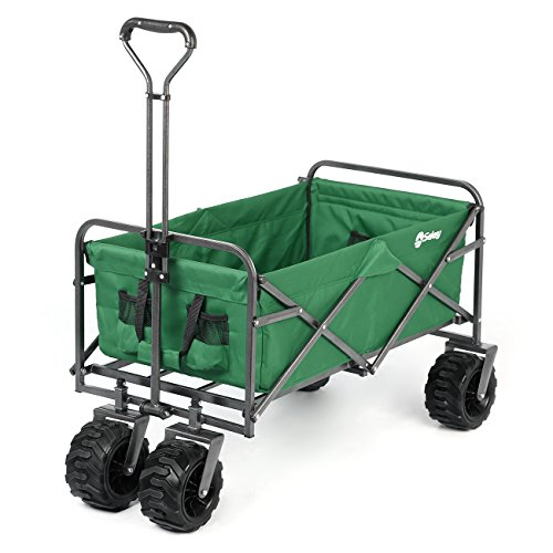 Sekey Folding Wagon Cart Collapsible Outdoor Utility Wagon Garden Shopping Cart Beach Wagon with All-Terrain Wheels, 265 Pound Capacity, Green