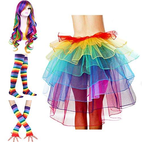 ECOSCO Women's Rainbow Wave Wig Long Gloves Socks 8Layered Tail Tutu Skirt Floral Headband Set (C)