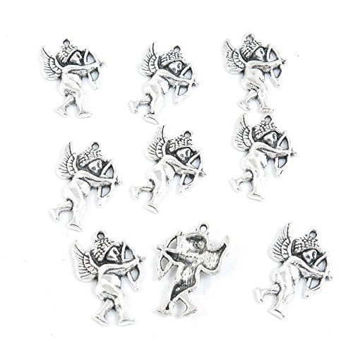 Cupid Antique (10 Pieces Antique Silver Tone Jewelry Making Charms Supply ZY3667 Cupid Angel)
