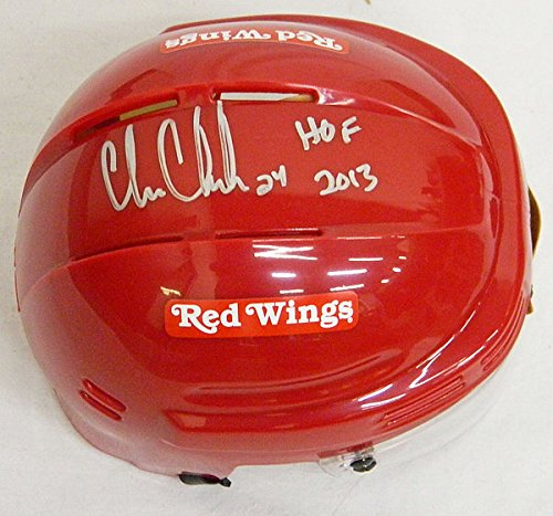 Chris-Chelios-Autographed-Red-Wings-Red-Hockey-Mini-Helmet-wHOF-2013-Authentic-Signed-Autograph