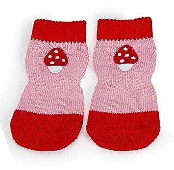 Camon suave paso rojo antideslizante calcetines para perros, ...