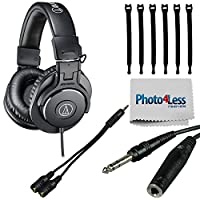 Audio-Technica ATH-M30x Professional Monitor Headphones + Headphone Splitter + 1/4 inch TRS to 1/4 inch TRS Headphone Extension Cable + Strapeez + Photo4Less Cleaning Cloth - Top Value Headphone KIT