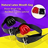 Top Latex Open Mouth Gag Ball BDSM Bondage Harness Fetish Wear Sex Slave Sexy Games Erotic Toys Adult Games Sex Toys for Couples Black