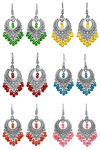 Shreyadzines Non-Precious Metal Alloy Silver Earring for Men and Women (Pair of 6)