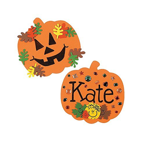 School Age Crafts For Halloween (Fun Express 8 Inch Foam Halloween Pumpkins - Craft Shapes - 24)