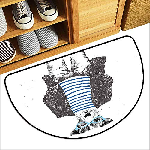 DILITECK Door mat Customization Quirky Decor Dressed Up Hipster Dog with Glasses Hand Drawn Sketchy Fashion Animal Hard and wear Resistant W36 xL24 Black White Blue -