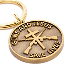 """Christian Gun Owners Gift - """"Guns and Jesus Save Lives"""" Keychain - Unique Gift for the Gun-owner, Military Service-person, or Law Enforcement Person in Your Life - Cross and Rifles Symbols"""