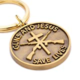 "Christian Gun Owners Gift - ""Guns and Jesus Save Lives"" Keychain - Unique Gift for the Gun-owner, Military Service-person, or Law Enforcement Person in Your Life - Cross and Rifles Symbols"