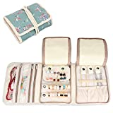 Teamoy Jewellery Roll, Travel Jewellery Organiser with Various Departments, Plum Flowers