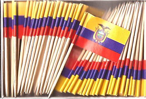 (One Box Ecuador Toothpick Flags, 100 Small Mini Ecuadorian Flag Cupcake Toothpicks or Cocktail Picks)