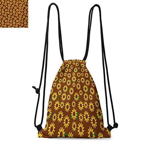 SunflowerDurable Drawstring BackpackCartoon Blossoms Lively Petals and Green Leaves Nature Gardening PlantsFor the gym W17.3 x L13.4 Inch Brown Yellow Green