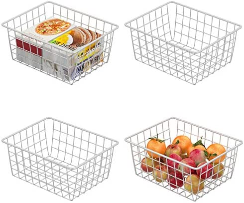 Wire Storage Basket, F-color 4 Pack Metal Household Storage Organizer Bin for Pantry, Shelf, Freezer, Kitchen Cabinet, Bathroom, Small, White