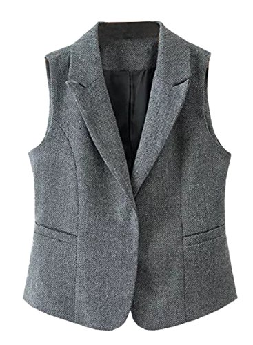 Futurino Women's Turndown Collar Sleeveless Tweed Suit Vest Waistcoat
