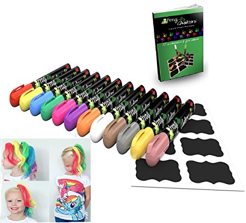 Chalkboard Markers - Liquid Chalk Window Paint - Temporary Hair Color and Body Art Pens - Neon and Metallic w/ 32 Reusable Labels and Idea Ebook (12 Pk)