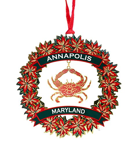 Enameled Christmas Wreath (Annapolis Maryland Brass Wreath Ornament with Crab (Enameled))
