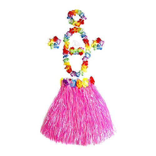 Gorse Hawaiian Dancer Grass Hula Skirt for Girls Elastic Costume Party Decorations Hawaiian Luau Costume Set for Party Favors (Pink15.7) -