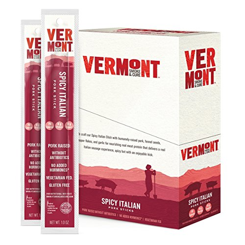 Vermont Smoke & Cure Meat Sticks, Pork, Antibiotic Free, Gluten Free, Spicy Italian, 1oz Stick, 24 Count made in New England