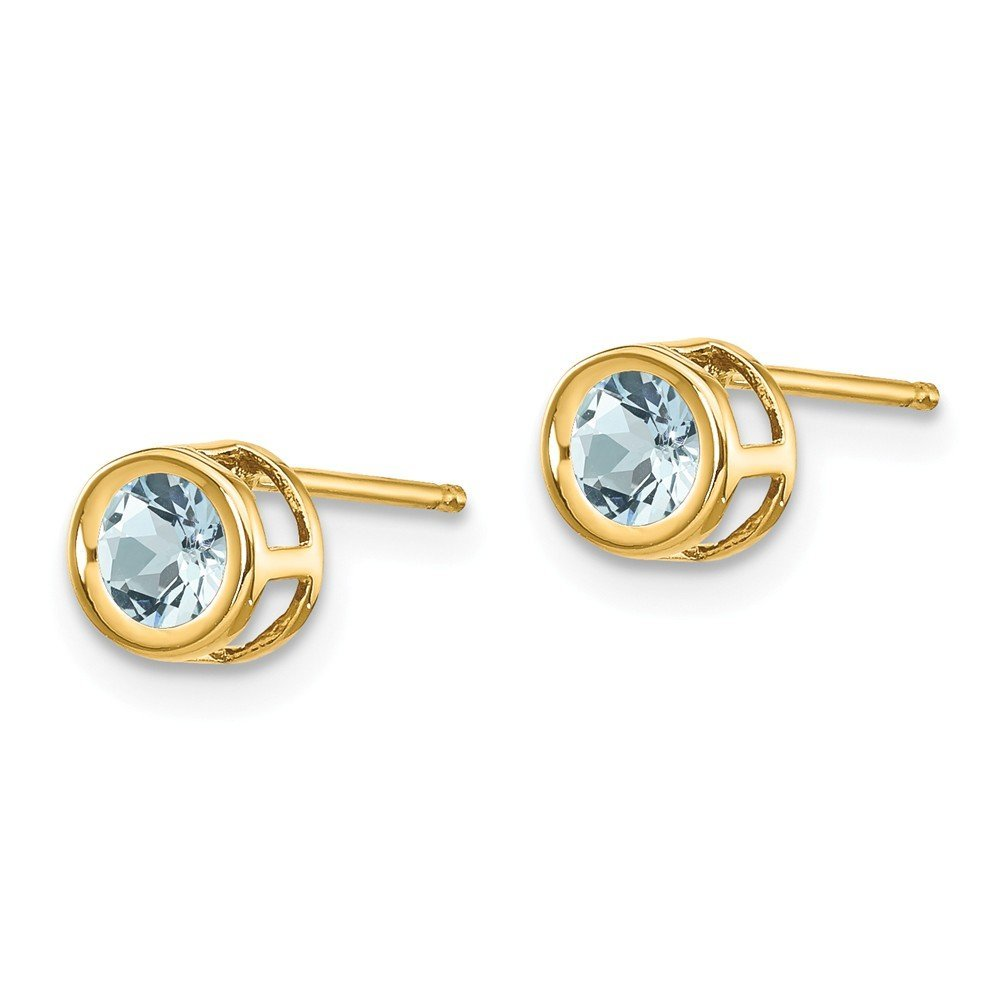5mm 14K Yellow Gold Bezel Set March Birthstone Aquamarine Post Stud Earrings