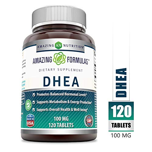 Amazing Formulas DHEA Dietary Supplement - 100 mg Pure - 120 Tablets Per Bottle - Promotes Balanced Hormonal Levels - Supports Metabolism & Energy Production, Balanced Hormonal Levels