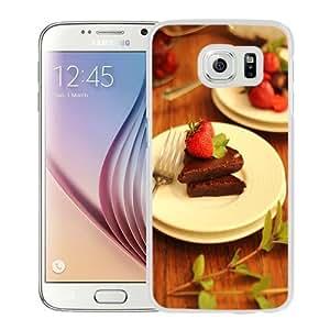 NEW Unique Custom Designed Samsung Galaxy S6 Phone Case With Strawberry Chocolate Desert_White Phone Case