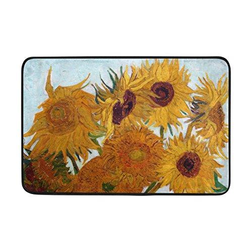 JSTEL Van Gogh Sunflower Doormat Indoor/Outdoor Washable Garden Office Door Mat,Kitchen Dining Living Hallway Bathroom Pet Entry Rugs with Non Slip Backing