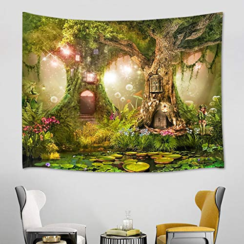 HVEST Fairy Tale Tapestry Lotus Leaves in The River Wall Hanging Tree Houses in Green Forest Tapestries for Kids Bedroom Living Room Dorm Decor Birthday Party Photography Background,80Wx60H inches