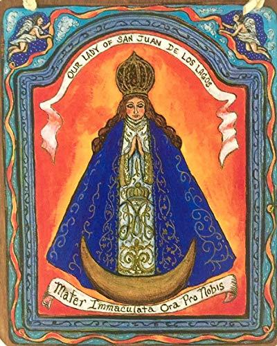Virgin Mary Our lady of San Juan de Los Lagos retablo icon Mexican shrine mexico art4thesoul Mexican orange blue 5 x 6 inch gift