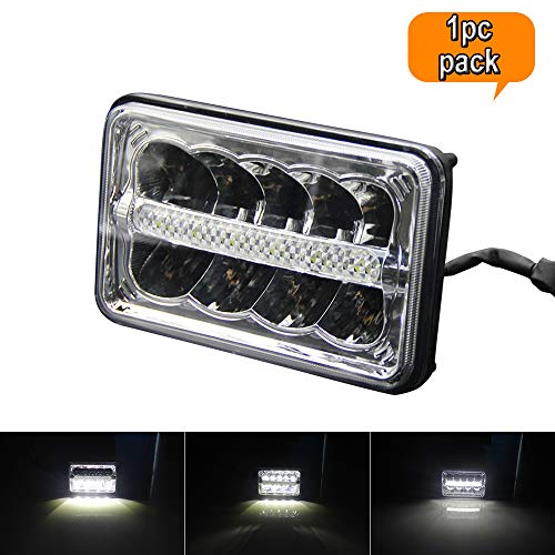 4x6 LED Headlight Replacement H4651 H4652 H4656 H4666 H6545 High Low Beam 4x6 Inch LED Headlights Headlamp Halo DRL 1pc Pack for Peterbil Kenworth Ford Probe Chevrolet Oldsmobile Cutlass(4x6)