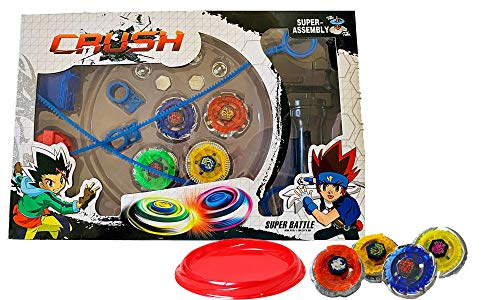 Crush Battling Blades Game Tops Metal Fusion Starter Set (4 Tops +2 Launchers +4 Tips +2 Bolts +1 Grip +1 Arena) (Best Candy Crush Type Game)