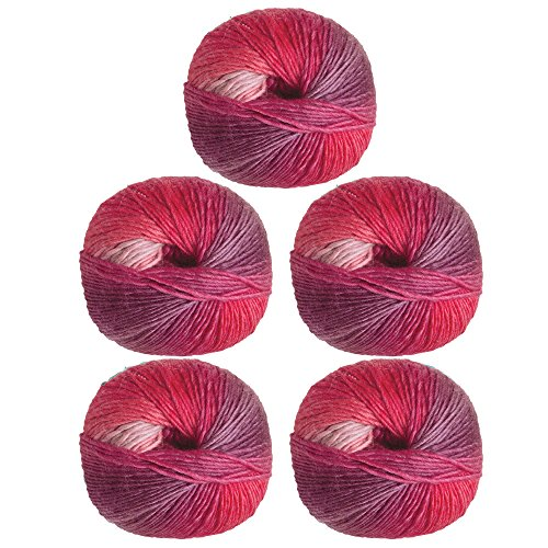 - Knit Picks Chroma Fingering Superwash Wool Variegated Multi Color Yarn - 5-Pack (Red Velvet)