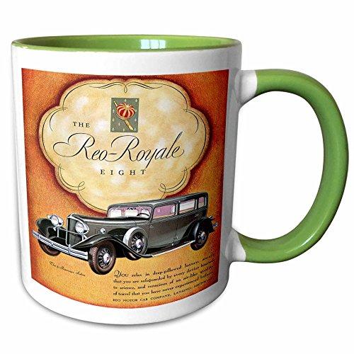 (3dRose BLN Vintage Automobiles and Racing - Vintage The Reo-Royale Eight Reo Motor Car Company Advertising Poster - 15oz Two-Tone Green Mug (mug_126339_12))