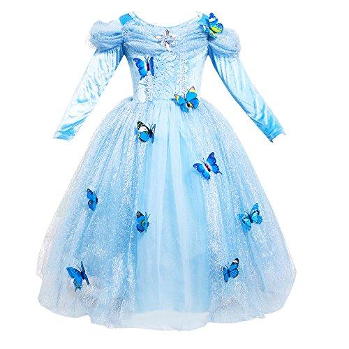 [Lestore Long Sleeve Girl Princess Cosplay Costume Blue Fancy Butterfly Dress (110 (4T))] (Blue Fancy Dress)