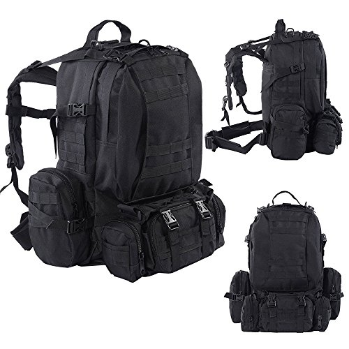 Angelwing Tactical Backpack 55L Outdoor Military Rucksack Camping Bag Hiking Black (Kuwait Pick)