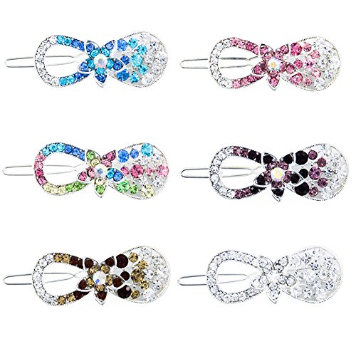 Yeshan Mini Rhinestone and Crystal Hair Clips No Slip Metal Hairpins Barrettes for Girls and Women Accessories,Flower bow design,Pack of 6 (Crystal Bow Barrette)