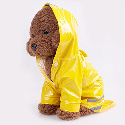 Abrigo impermeable para mascotas, Lindo PU Mascota Reflectante, Perro Gato Ropa A Prueba de agua (Amarillo)