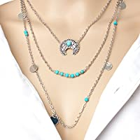 QTMY Ancient Silver Multilayer Turquoise Women Necklaces with Moon Charm Fashion Jewelry