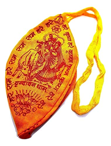 Canto Shop Tela Yoga Meditación Eclectic Amarillo Rama Hindú naranja Indios Oración Uk Mala Liebre Bolsa Japa Krishna Puja Teñido Mano Fwgfzwq