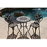 Bellezza© 3-Piece Rose Bistro Set with 24-Inch Top Table, Bronze