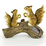 Squirrels on a Log Solar Garden Light