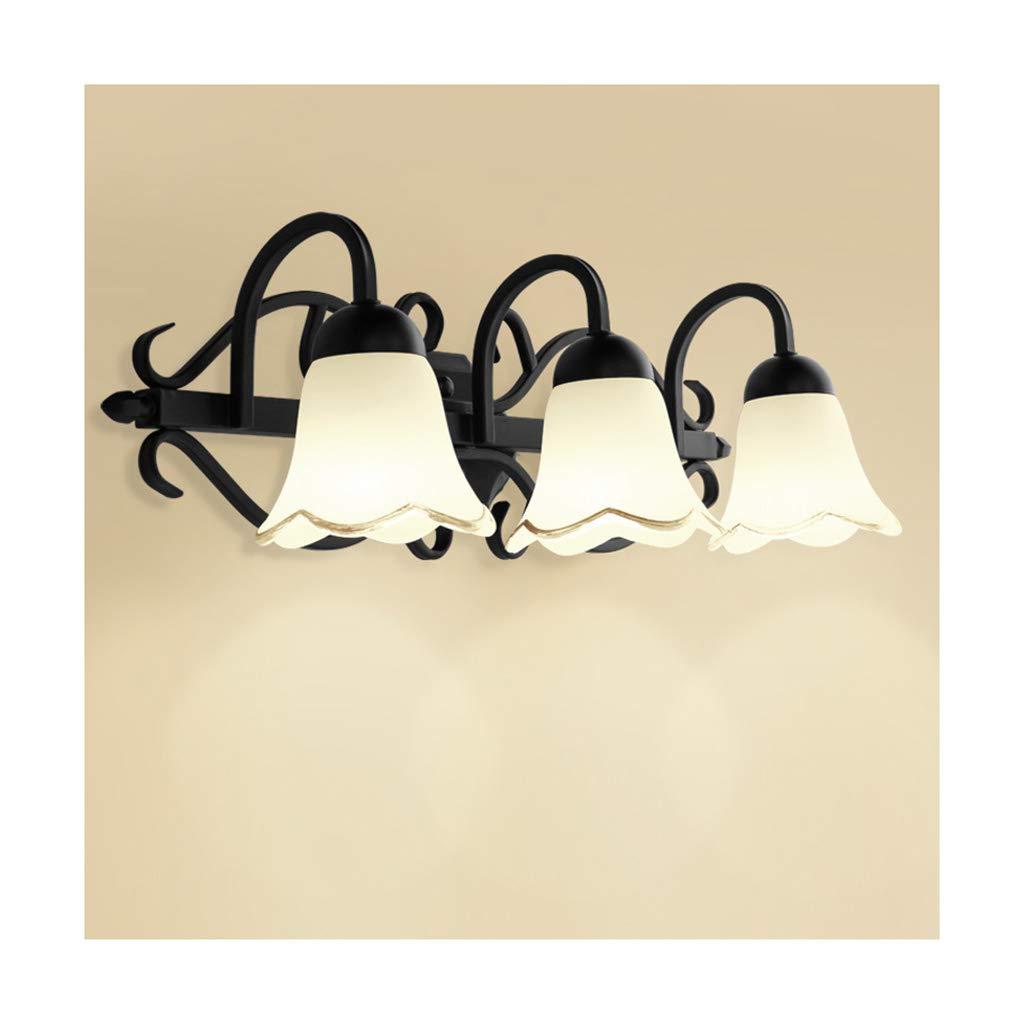 &Badezimmerbeleuchtung Spiegelfrontleuchte, Schmiedeeisen-Glaslampe Nachttischlampe Make-up Beleuchtung Licht